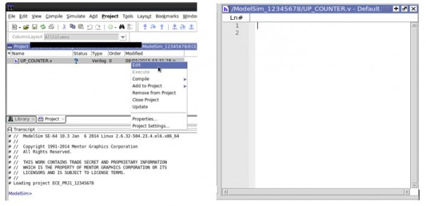 4 Left- The project tab shows the new file. Right- The text editor.