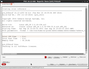 Figure 13 PVSLVS report window.