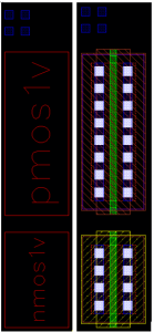 Figure 4 Left (Sub-cells with boxes view). Right (Sub-cells with all layers visible).