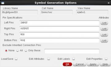 Figure 5 Symbol Generation Options window.